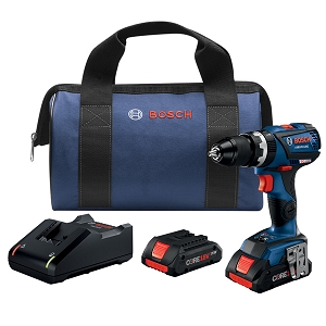 Bosch GSB18V-535CB25 18V EC Brushless Connected-Ready Compact Tough 1/2 In. Hammer Drill/Driver Kit with (2) CORE18V 4.0 Ah Compact Batteries