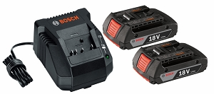 Bosch SKC181-02 3 pc. 18 V Lithium-Ion SlimPack Battery and Charger Starter Kit