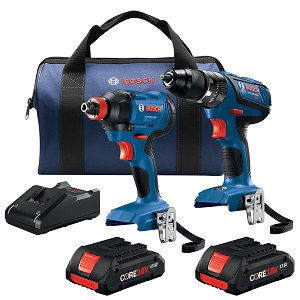 Bosch GXL18V-239B25 18V 2-Tool Combo Kit with 1/2 In. Compact Tough Hammer Drill/Driver and 1/4 In. and 1/2 In. Two-In-One Bit/Socket Impact Driver