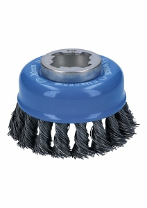 Bosch WBX328 3 In. Wheel Dia. X-LOCK Arbor Carbon Steel Knotted Wire Single Row Cup Brush
