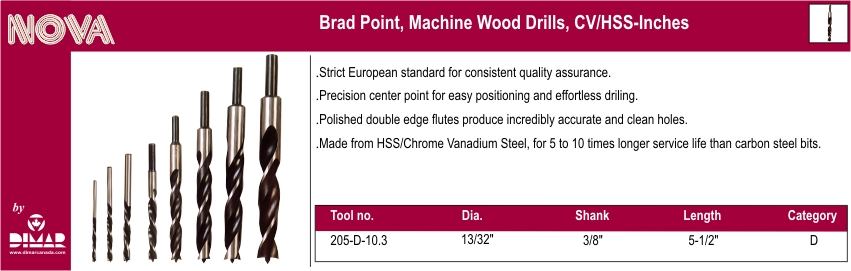 Dimar 205-D-10.3 Brad Point Wood Drill Bit 13/32