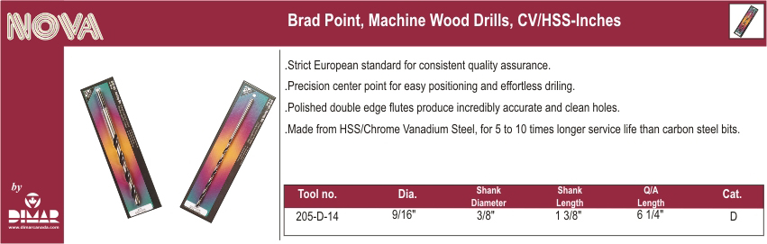 Dimar 205-D-14 Brad Point Wood Drill Bit 9/16