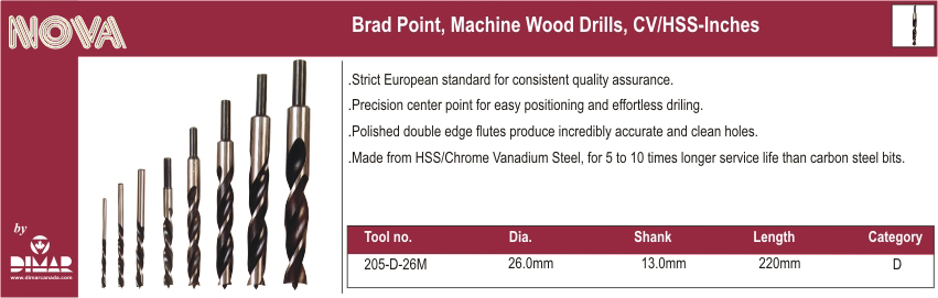 Dimar 205-D-26M Brad Point Drill Bit 26 Mm
