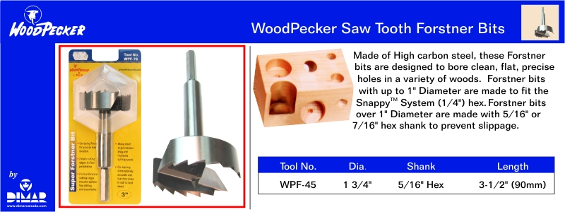 Woodpecker WPF-45 Forstner Bit-1 3/4