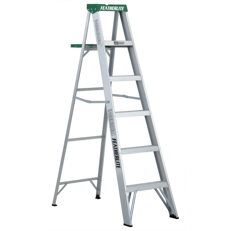 6 ft Featherlite 2406 Aluminum Step Ladder, Type II, 225 lb Load Capacity