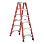 4 ft Featherlite 6604AA Fiberglass Twin Step Ladder, Type IAA, 375 lb Load Capacity