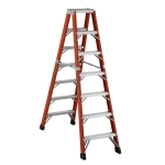 12 ft Featherlite 6612AA Fiberglass Twin Step Ladder, Type IAA, 375 lb Load Capacity