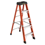 5 ft Featherlite 6805AA Fiberglass Step Ladder, Type IAA, 375 lb Load Capacity
