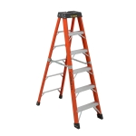 6 ft Featherlite 6806AA Fiberglass Step Ladder, Type IAA, 375 lb Load Capacity