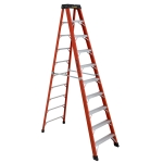 10 ft Featherlite 6810AA Fiberglass Step Ladder, Type IAA, 375 lb Load Capacity