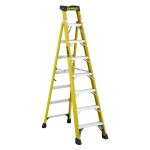 8 ft Featherlite FXS6908 Fiberglass Cross Step Ladder, Type IA, 300 lb Load Capacity