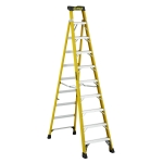 10 ft Featherlite FXS6910 Fiberglass Cross Step Ladder, Type IA, 300 lb Load Capacity