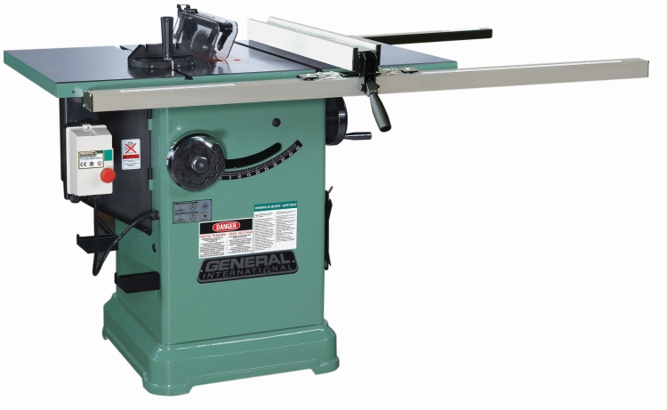 General International 50-275RLKM1 10 in. Left Tilt Cabinet Saw 3 HP with Table and Legs
