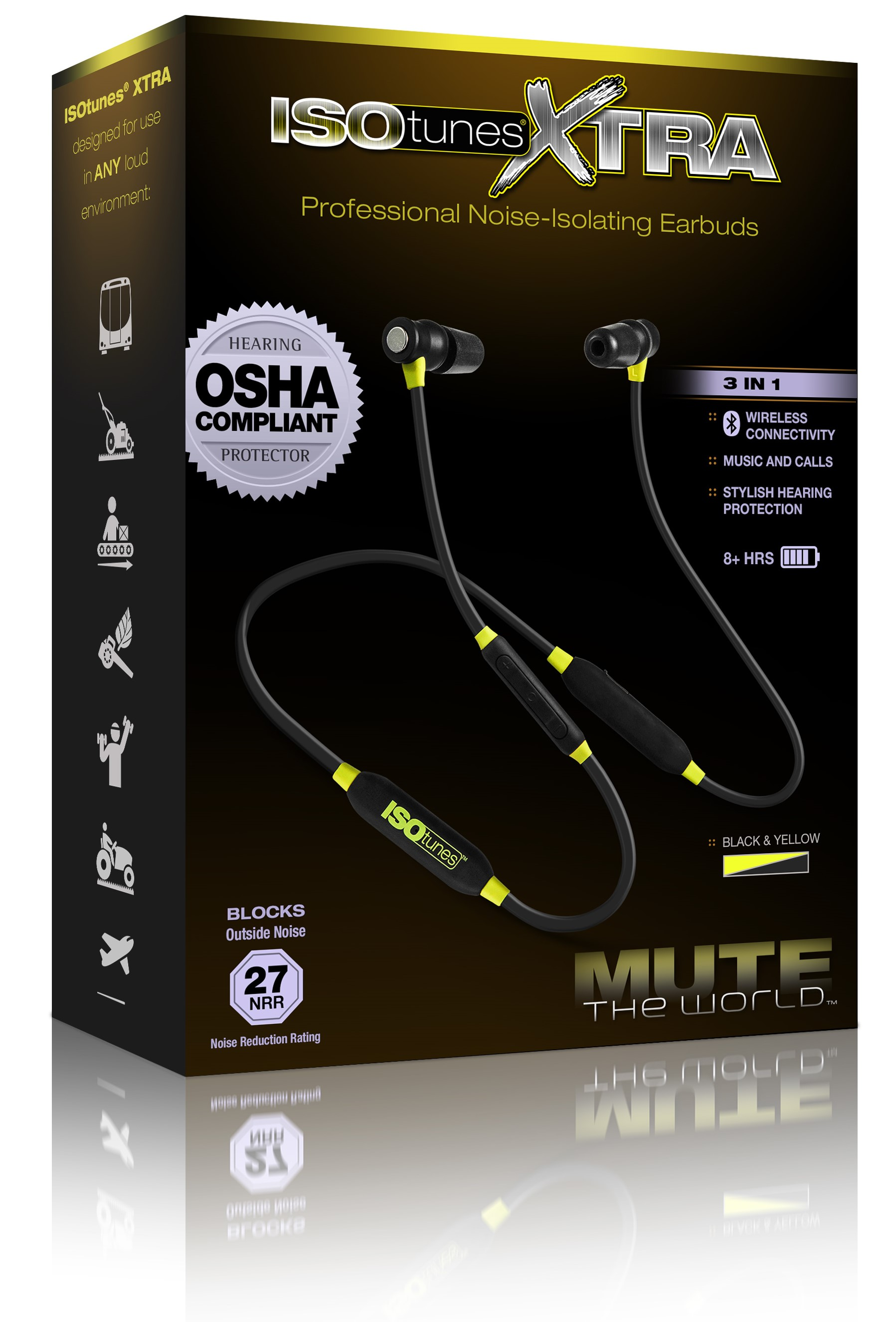 6ebb1891573 ISOtunes™ IT-02 XTRA Bluetooth Noise-Isolating Earbuds - Yellow/Black