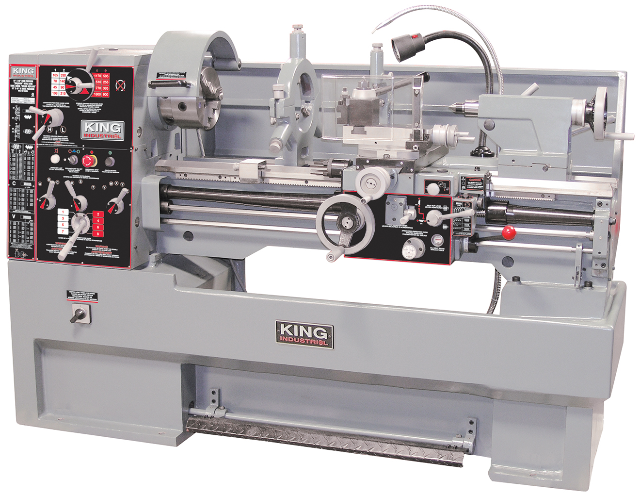 King Industrial KC-1640ML Lathe, Metal 16 x 40 Belt Drive, 4 HP, 600V 3PH