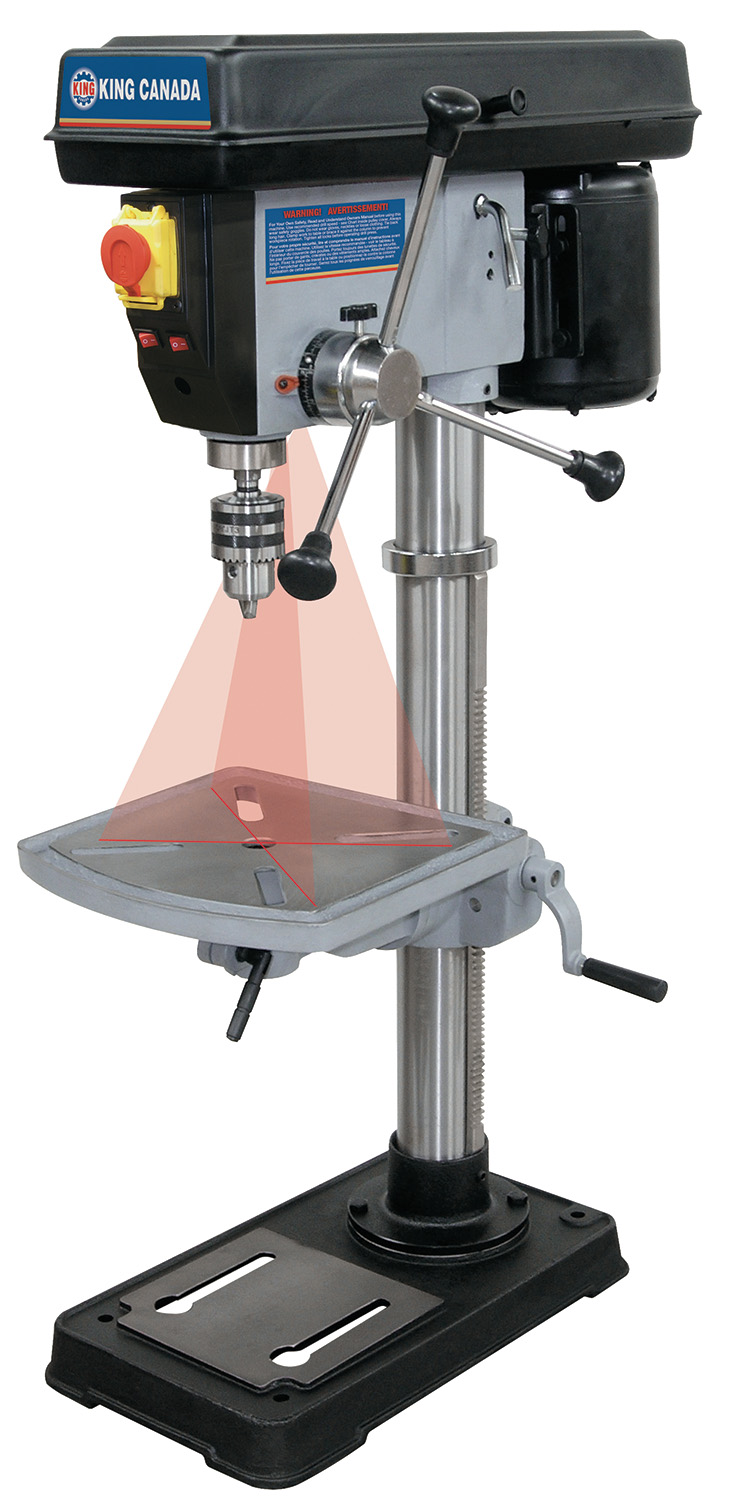 King Canada KC-117N Drill Press, 15 Bench, 16 Spd, 5/8 Chuck, Laser