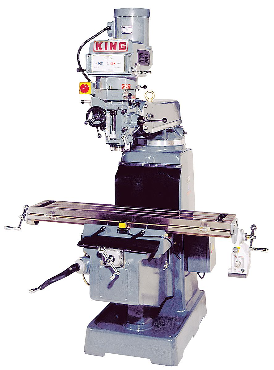 King Industrial 1050VS Milling/Drilling, Vertical Turret, 5HP, 600V ISO 40 Taper