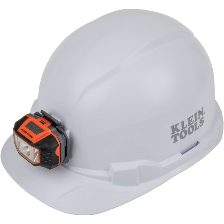 Klein 60107 Hard Hat, Non-Vented, Cap Style with Headlamp, White