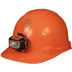 Klein 60900 Hard Hat, Non-Vented, Cap Style with Headlamp, Orange