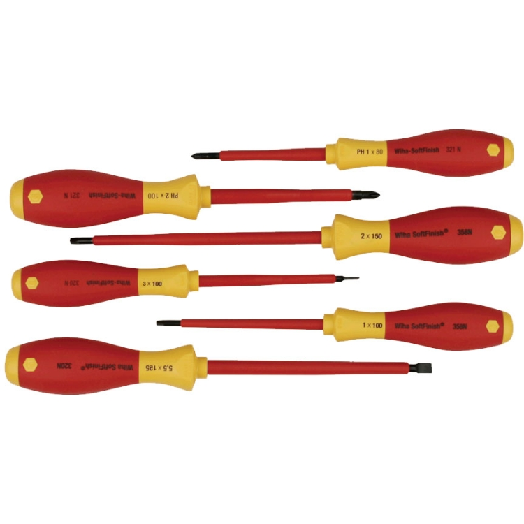 Wiha 35891 Insulated Slot/Ph/Sq Screwdriver 6Pc Set