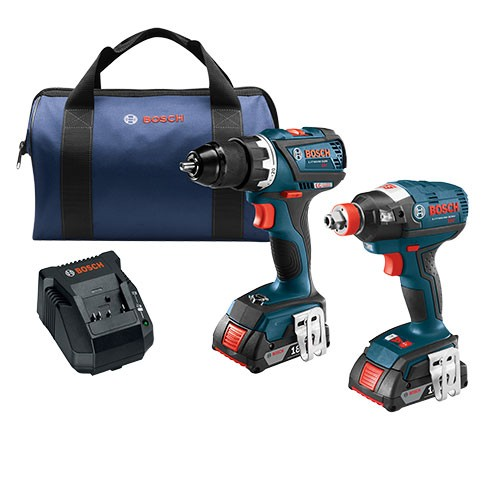 Bosch CLPK238-181 18 V 2-Tool Combo Kit with EC Brushless 1/4 In. and 1/2 In. Socket-Ready Impact Driver and EC Brushless Compact Tough 1/2 In. Drill/Driver