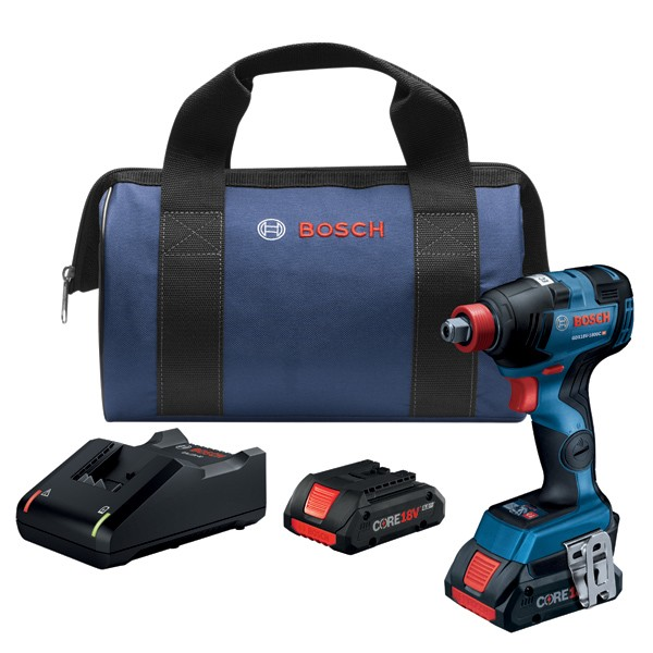 Bosch GDX18V-1800CB25 18V EC Brushless Connected Freak 1/4 In. and 1/2 In. Two-In-One Bit/Socket Impact Driver Kit with (2) CORE18V 4.0 Ah Compact Batteries