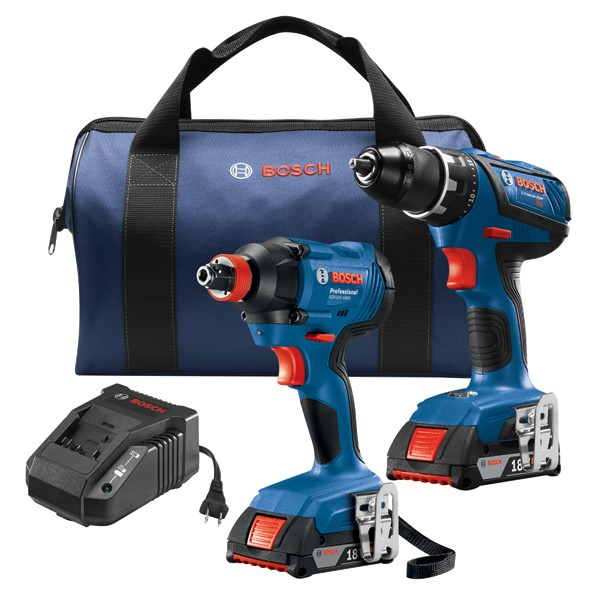 Bosch GXL18V-232B22 18V 2-Tool Combo Kit with Compact Tough 1/2 In. Drill/Driver and 1/4 In. and 1/2 In. Two-In-One Bit/Socket Impact Driver