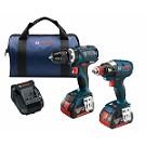 Bosch CLPK251-181 18 V 2-Tool Combo Kit with EC Brushless 1/4 In. and 1/2 In. Socket-Ready Impact Driver and EC Brushless Compact Tough  1/2 In. Hammer Drill/Driver