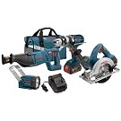 "Bosch CLPK402-181 18V 4-Tool Combo Kit with Brute Toughâ""¢ 1/2 In. Hammer Drill/Driver, 1-1/8 In. Reciprocating Saw, 6-1/2 In. Circular Saw and Flashlight"