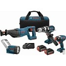 Bosch CLPK414-181 18V 4-Tool Combo Kit with 1/4 In. and 1/2 In. Socket-Ready Impact Driver, Brute Tough™ 1/2 In. Hammer Drill/Driver, 1-1/8 In. Reciprocating Saw and Flashlight