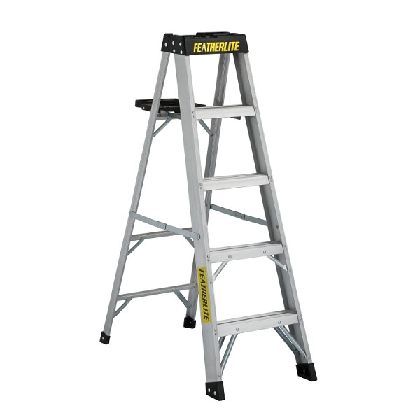 5 ft Featherlite 3405 Aluminum Step Ladder, Type IA, 300 lb Load Capacity