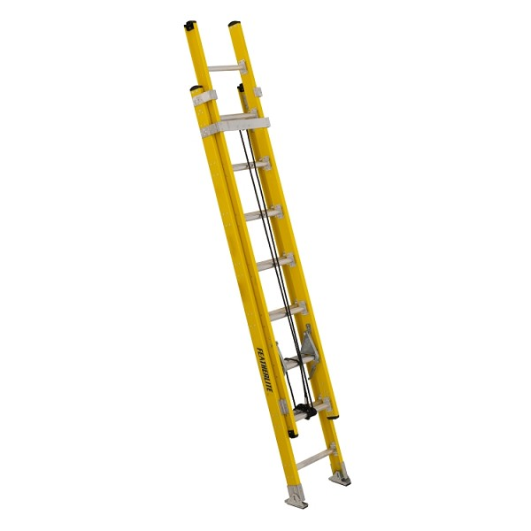 16 ft Featherlite 5716D Fiberglass Extension Ladder, Type IAA, 375 lb Load Capacity