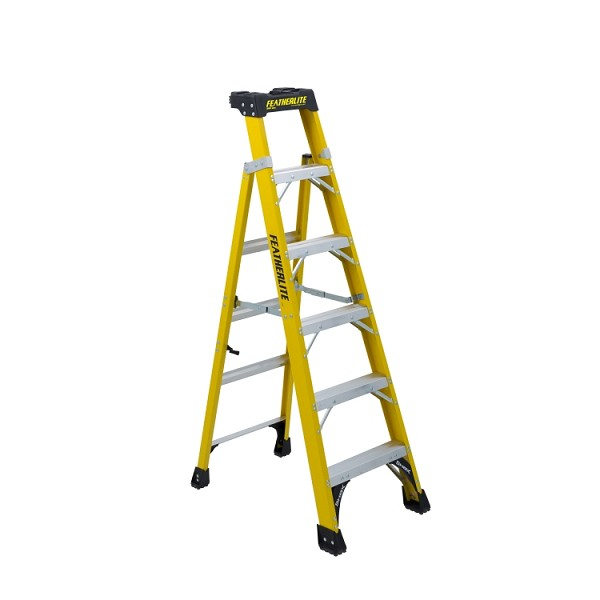6 ft Featherlite FXS6906 Fiberglass Cross Step Ladder, Type IA, 300 lb Load Capacity