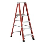 8 ft Featherlite 6508AA Fiberglass Platform Step Ladder, Type IAA, 375 lb Load Capacity
