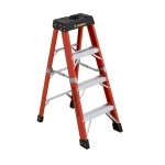4 ft Featherlite 6804AA Fiberglass Step Ladder, Type IAA, 375 lb Load Capacity