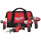 Milwaukee 2498-24 M12 Cordless LITHIUM-ION 4-Tool Combo Kit